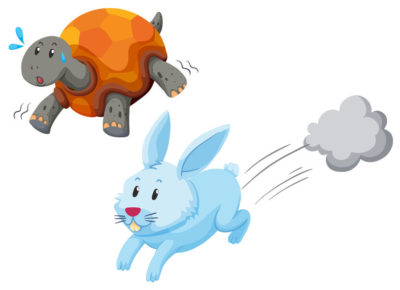 49135946 - turtle and rabbit racing illustration