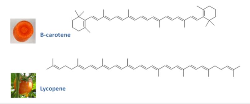 Structures beta-carotene et lycopene